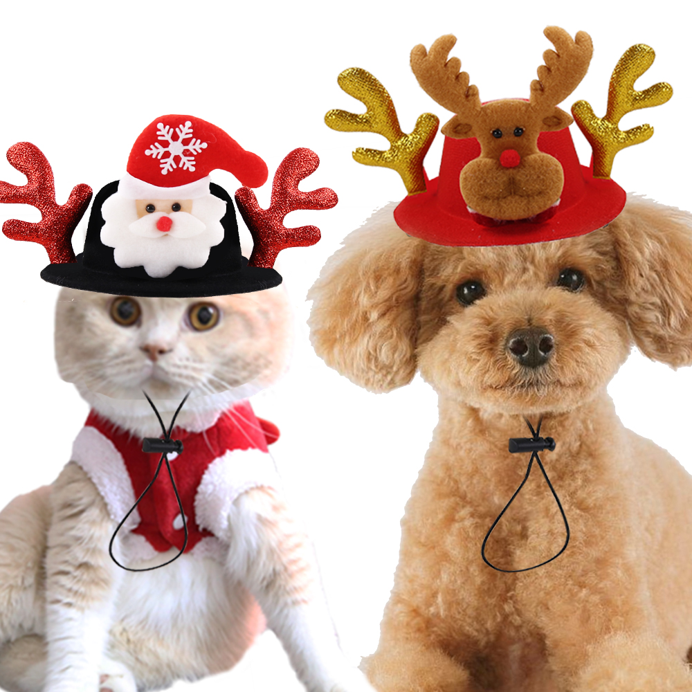 2019 Xmas Hat Pet Dog Cat Christmas Headwear Elk Reindeer Antlers headband Apparel New