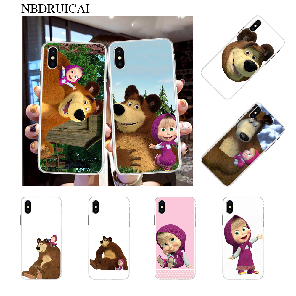 NBDRUICAI Masha and Bear Coque Shell Phone Case for iPhone 11 pro XS MAX 8 7 6 6S Plus X 5S SE XR cover