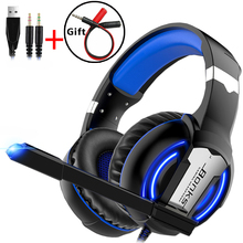 Gaming Headsets Headphones with LED Light Microphone Deep Bass Stereo Big Earphones for PC Computer Gamer Laptop PS4 New X-BOX