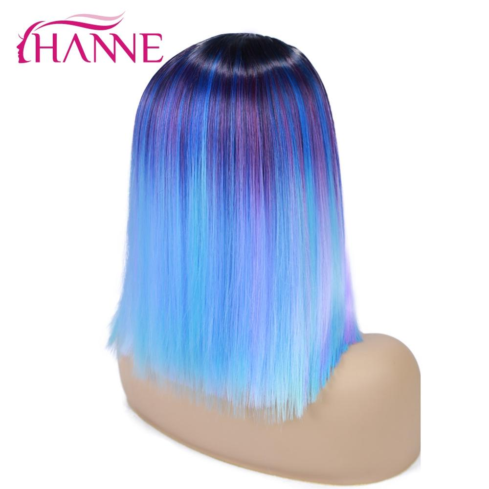 HANNE Synthetic Hair Wigs Ombre Black to Purple Mix Blue Pink Blonde Grey Short Straight Wigs for Women Cosplay or Party in Synthetic None Lace Wigs from Hair Extensions Wigs