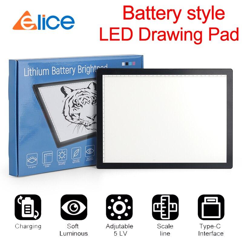 Elice 2020 novo estilo da bateria suporte função de carregamento abs quadro led desenho tablet gráficos digitais almofada traçando desenho placa