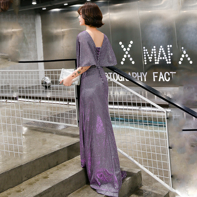 Elegant Evening Dress Purple Mermaid Long Women Party Dresses O-Neck Half Sleeve Formal Gowns Shawl Shining Robe De Soiree K199 3