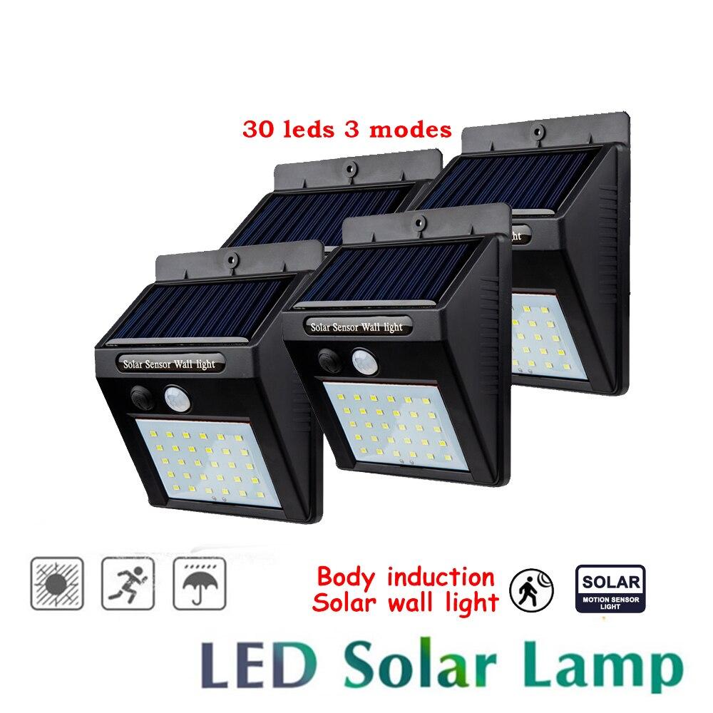 2/4PCS 30 LEDs Solar Wall Lamp Wireless PIR Motion Sensor Solar Night Light For Street Garden Patio Emergency Security Lighting