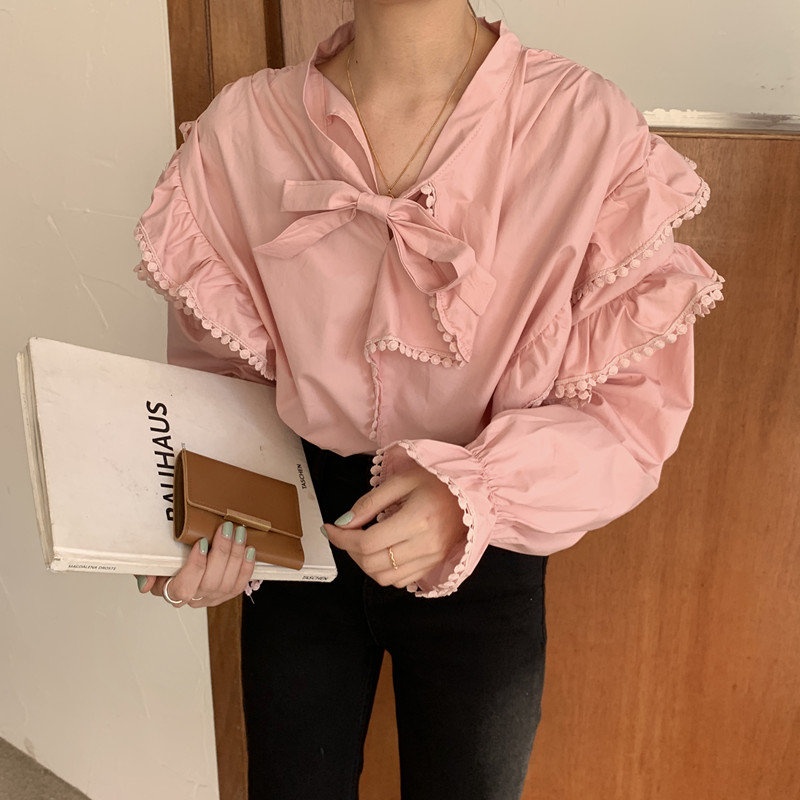 Alien Kitty 2020 Elegant Sweet Solid Ruffles Irregular Lace Brief Chic Femme Blusas Tops Women Blouses New Spring Loose Shirt