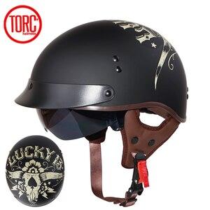 Мотоциклетный шлем TORC T55, винтажный мотоциклетный шлем в стиле ретро с открытым лицом