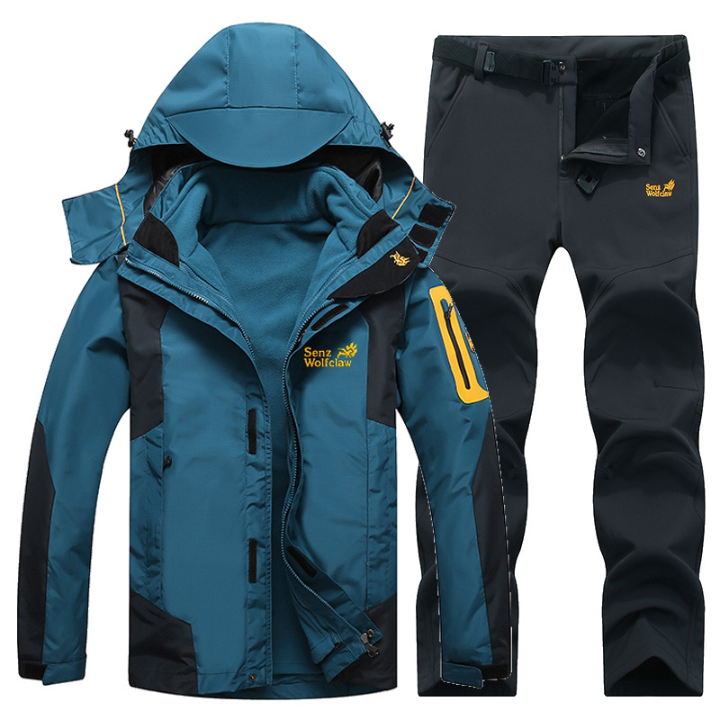 Winter Ski Suit For Men Fleece Warm Windproof Waterproof Skiing Suits Snowboarding Set Male Outdoor Ski Jacket +Softshell Pant