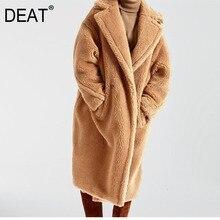 WJ11111XL 2020 DEAT 秋と冬のターンダウン襟フルスリーブポケット毛皮パッチワーク厚さコート女性テディジャケット