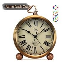 ¡Novedad de 2019! relojes de escritorio digitales romanos Retro con aguja antigua, relojes de alarma vintage para decoración del hogar, relojes de escritorio retro
