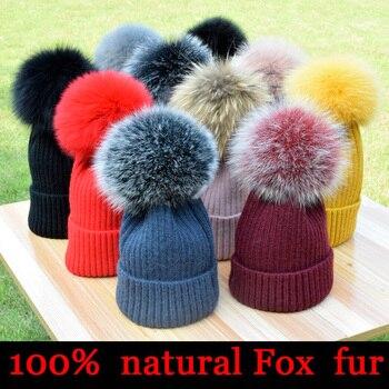 New winter hat luxury quality Fox fur pompom hats beanie for women