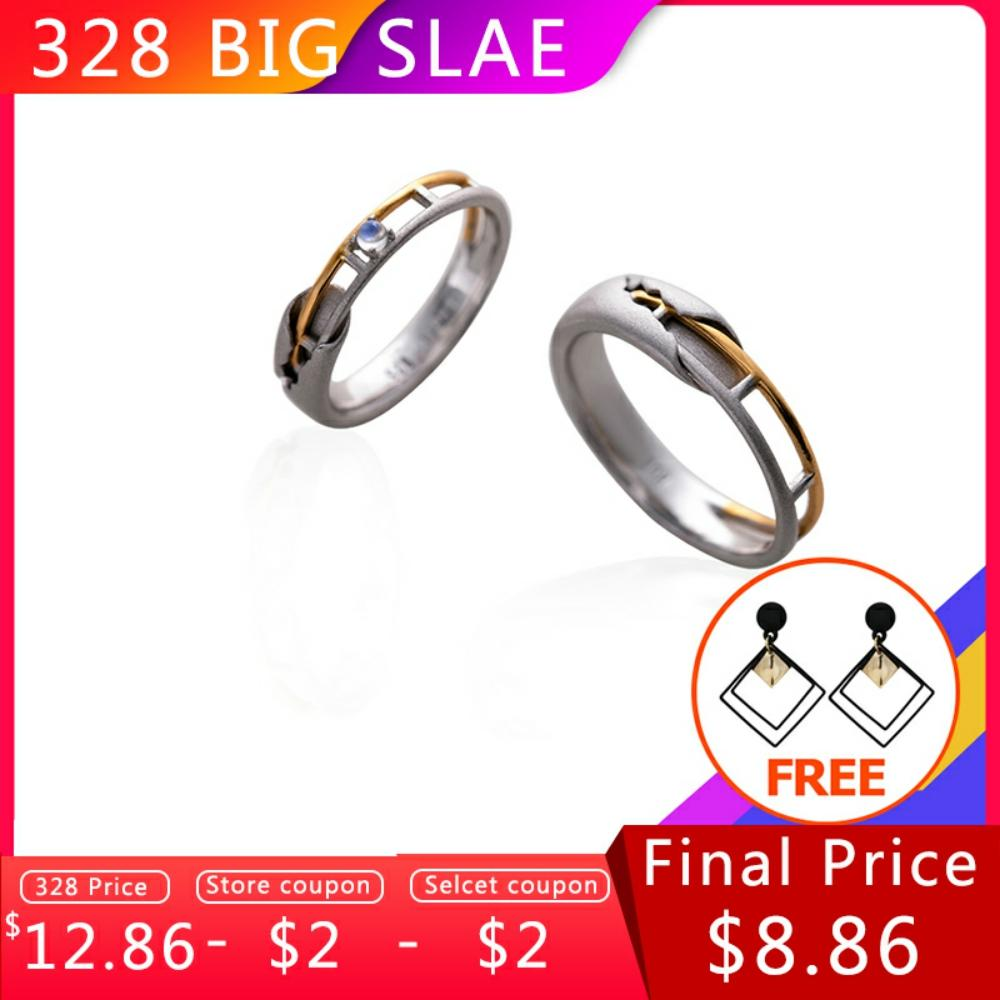 Thaya Train Rail Design Moonstone Lover Rings Gold and Hollow 925 Silver Eleglant Jewelry for Women Gemstone Sweet Gift