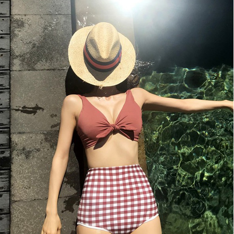 Leisure Fashion Summer Women 39 s Bikini Swimming Suit Two Pieces Plaid Swimsuit Refreshing Wear Beachwear Swimwear Swim Bathing in Body Suits from Sports amp Entertainment