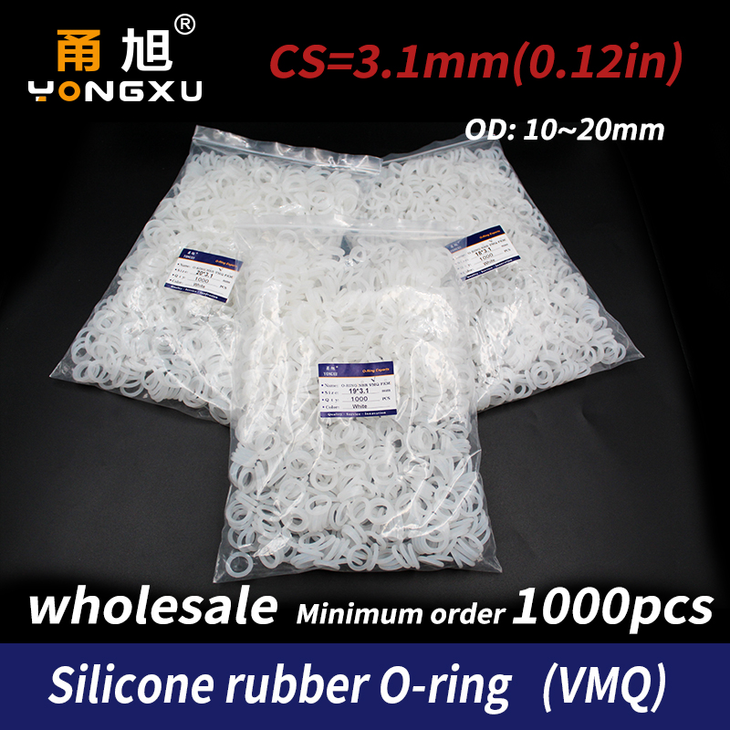1000PCS/lot Silicon wholesale Silicone/VMQ 3.1mm Thickness  OD10/11/12/13/14/15/16/17/18/19/20mm O Ring Seal Rubber Gasket Rings