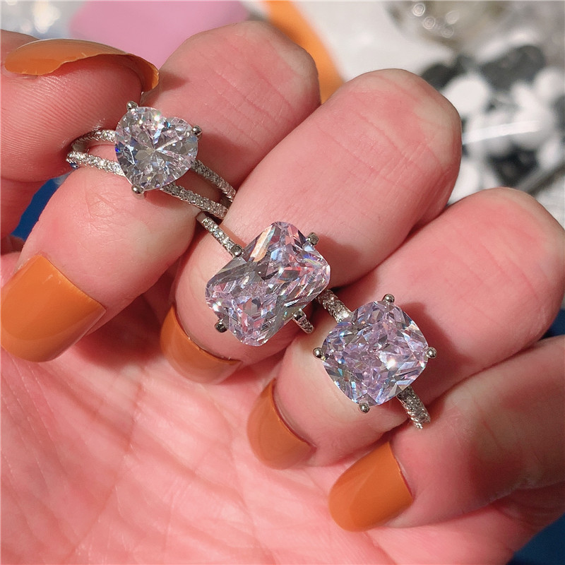 choucong Crowm Promise Ring 925 sterling Silver AAAAA Zircon cz Engagement Wedding Band Rings For Women Party Finger Jewelry
