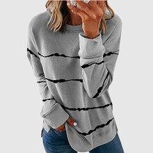 T-shirt à manches longues pour femmes, ample et surdimensionné, avec rayures de teinture par nouage, grande taille 5XL, à la mode, nouveauté 2021
