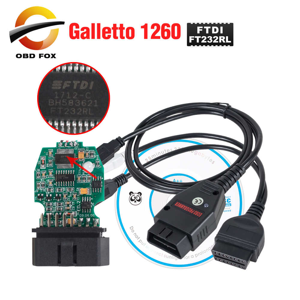 Galletto 1260 ECU Chip Tuningเครื่องมือEOBD/OBD2/OBDII Flasher Galleto 1260 ECU Flasher FTDI FT232RLเครื่องยนต์tuning