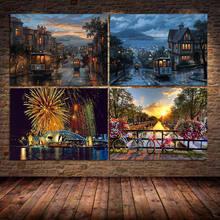 مدينة المشهد قماش اللوحة الكبار المشارك و يطبع جدار صورة فنية التلوين لغرفة النوم غرفة المعيشة ديكور Cuadros غير المؤطرة