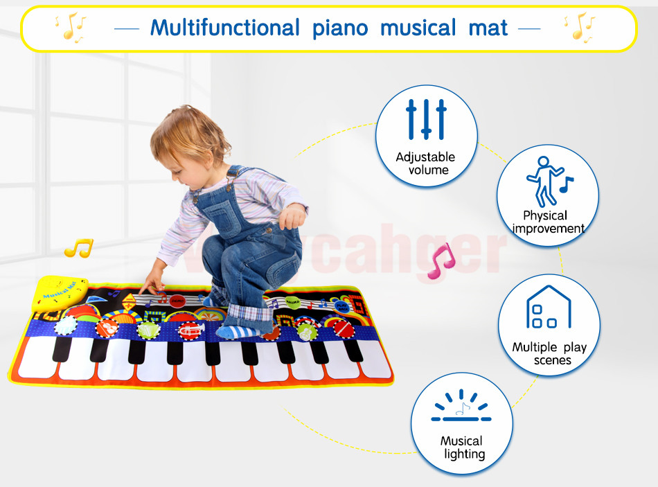 H4bcfad70be104a34bcb20ecc5a093cceJ 110x36cm Musical Piano Mat Baby Play Mat Toy Musical Instrument Mat Game Carpet Music Toys Educational Toys for Kids Xmas Gift