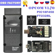 Op com varredor obd2 v1.99/v1.95/v1.70 para opel opcom 1.99 ferramenta de diagnóstico automático com leitor de código pic18f458 ft232rl OP-COM