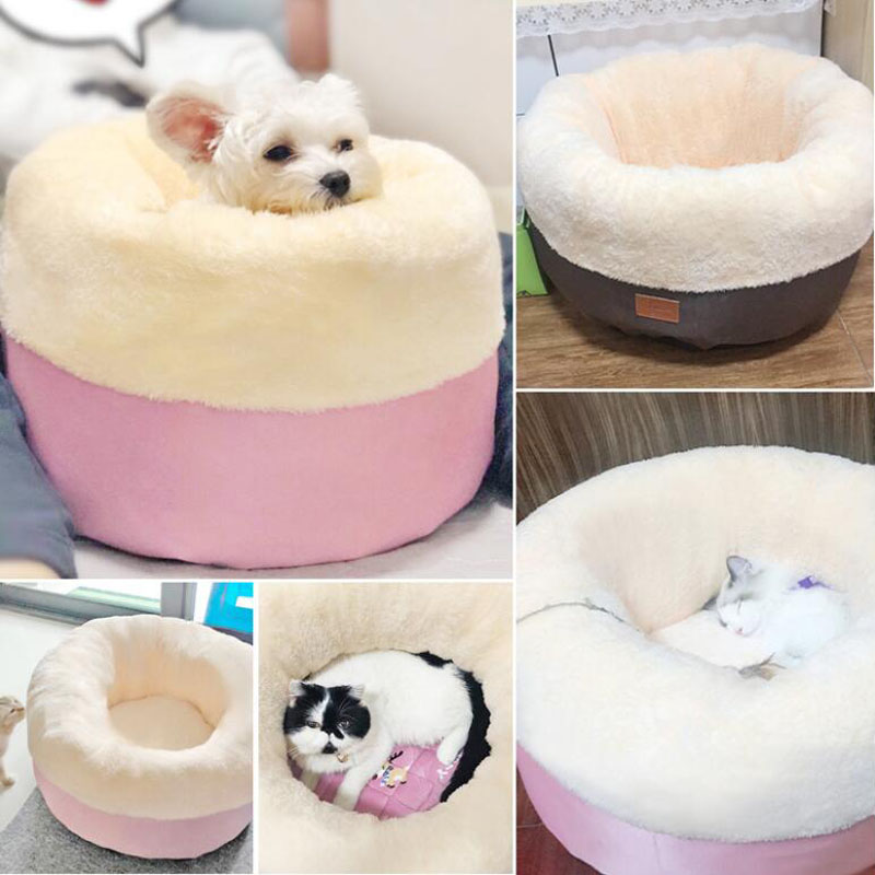 HIPET Round Pet Nest For Dog Cat Winter Warm Thicken Deep Sleeping Detachable Washable Puppy Small Bed House