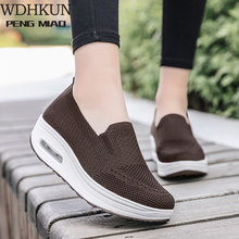 Spring Autumn Women's Swing Shoes Mesh Woman Loafers Flat Platforms Female Shoe Wedges Ladies Shoes Height Increasing Sneakers(China)