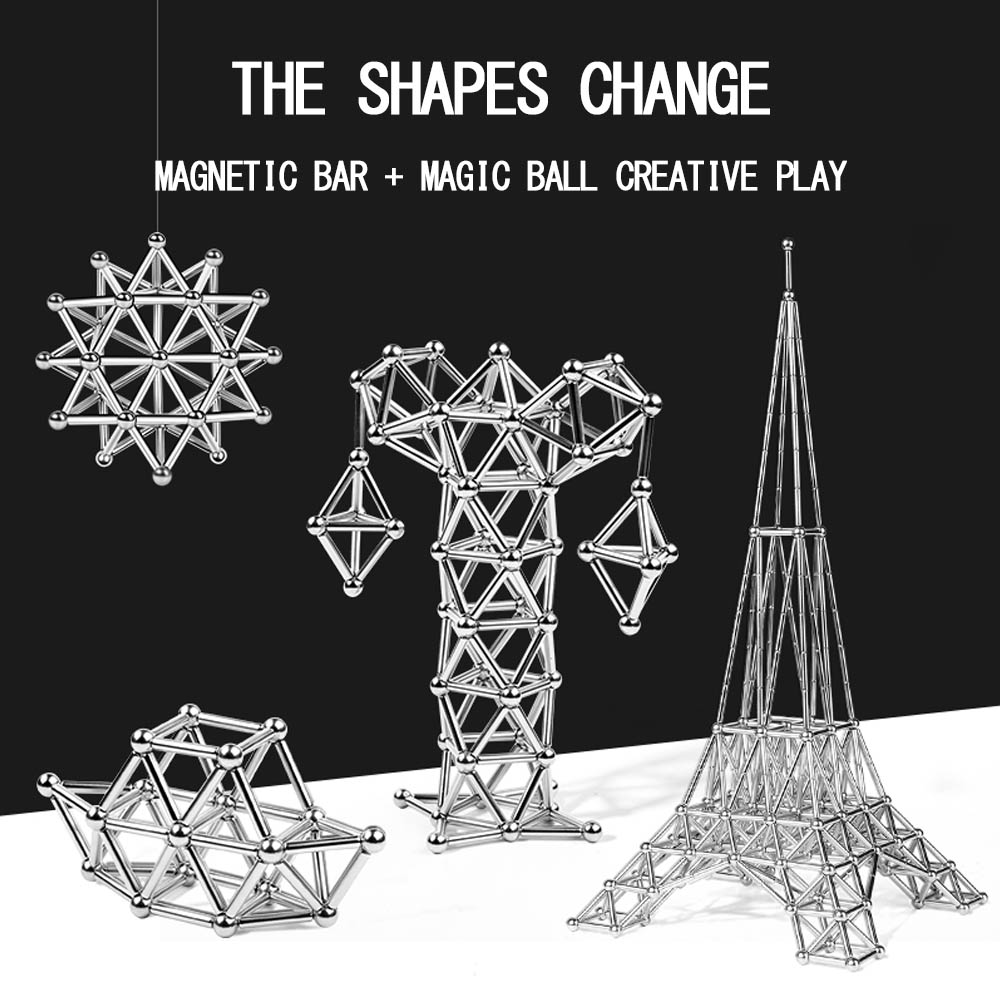 Magnetic Construct Building Blocks Magnetic Sticks&Silver Balls Accessories DIY Office Puzzle Toys For Birthday Gift