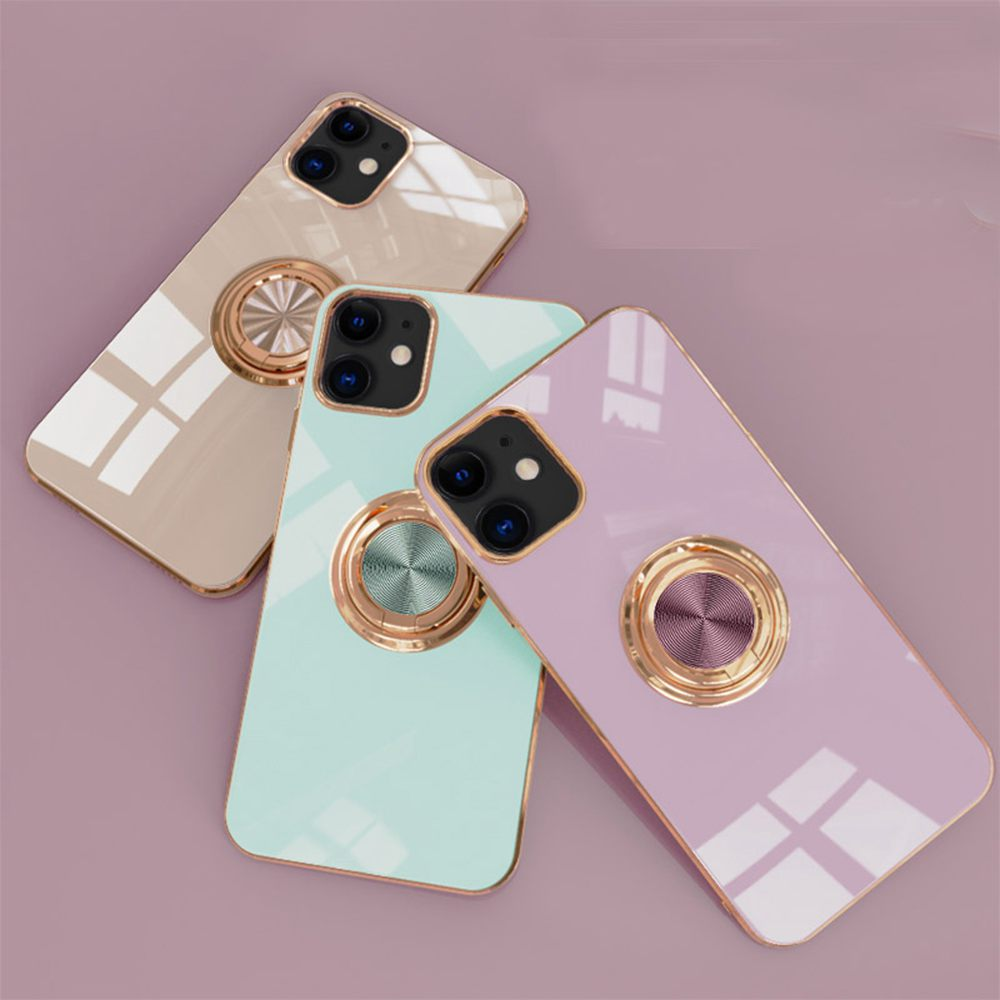 6D Plating Gold Frame Soft TPU Ring Stand Case for iPhone 12 Pro Max