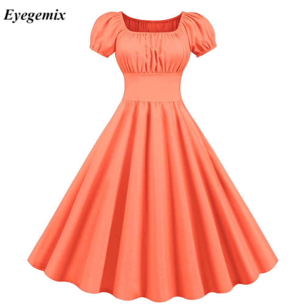 2020 novo verão sólido cor vermelha 50s 60s vestido vintage feminino manga curta gola quadrada elegante escritório festa midi vestidos cinto