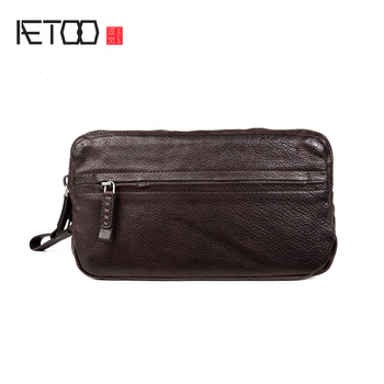 AETOO Men's trend leather mobile phone bag, fashion business hand-picked bag, casual hand bag