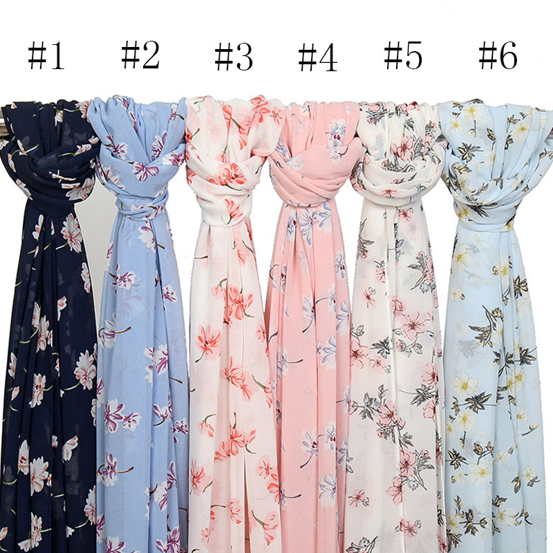 15 Colors Fashion Luxury Floral Bubble Chiffon Instant Hijab Ladies Print Shawls and Wraps Bufandas Muslim Bonnet Caps 180*70Cm