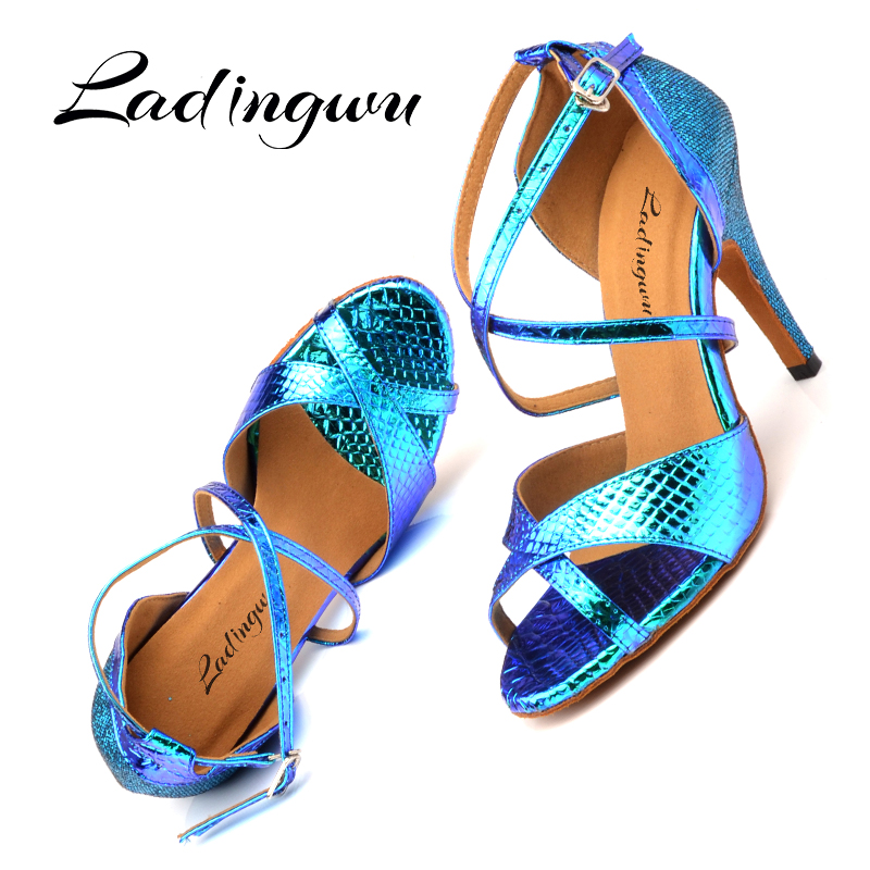 Ladingwu Latin Dance Shoes Women Ballroom Dance Shoes For Women Laser PU And Glitter Blue Gold Silver Dance Heels Sandals Women