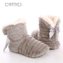 Pantoufles en fourrure avec nœud papillon pour femmes, chaussures de maison, pantoufles de chambre à coucher, bottes d'intérieur chaudes et douces pour filles, 2021