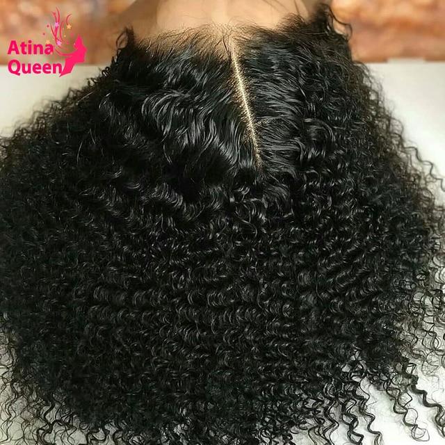 Peluca rizada mongol 13x6 pelucas de pelo humano Frontal de encaje profundo para mujeres negras predesplumado cierre Frontal corto Afro peluca Remy