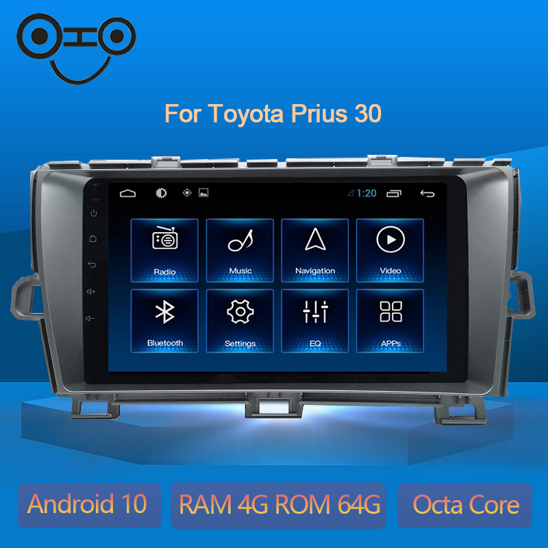 Prius 30 Android 9.0 Octa Core 4+64G Gps Navigation Bluetooth Car Stereo For Toyota Prius 30