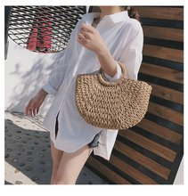 New Lady Women's MOON Straw Totes Handbags Beach Bags Rattan Bag Handmade Vintage Woven Handbag for Women Lady Corn Fur Basket недорого