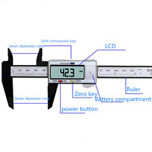 Горячая точность 150 мм 6 дюймов ЖК электронный цифровой штангенциркуль из углеродного волокна штангенциркуль Калибр микрометр измерительный инструмент линейка
