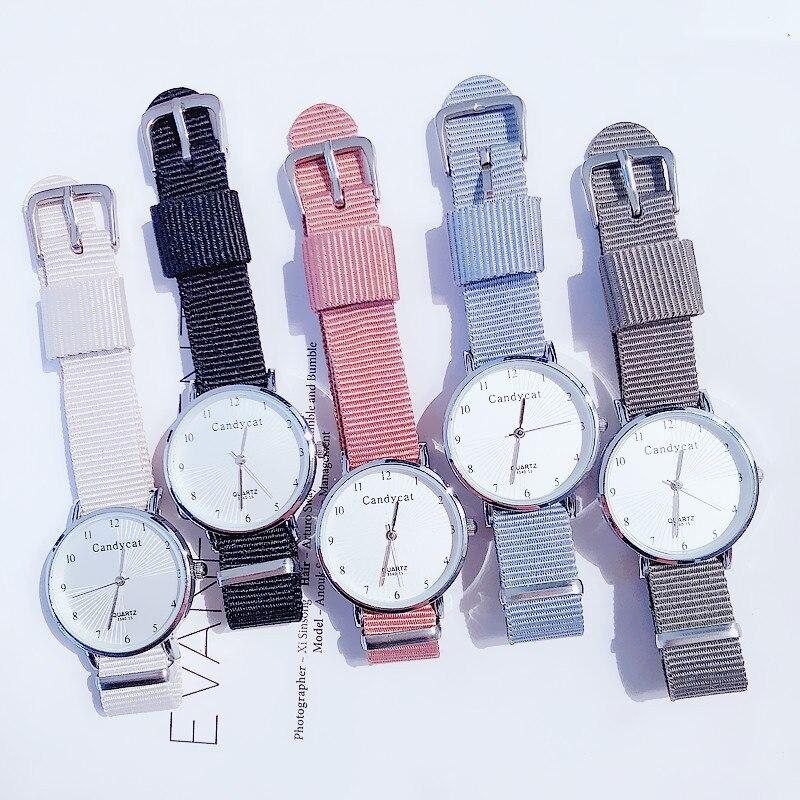 Watches For Women Fashion Canvas Strap Dress Quartz Clock Digital Round Fashion Simple Dial Sports Ladies Wrist Watch