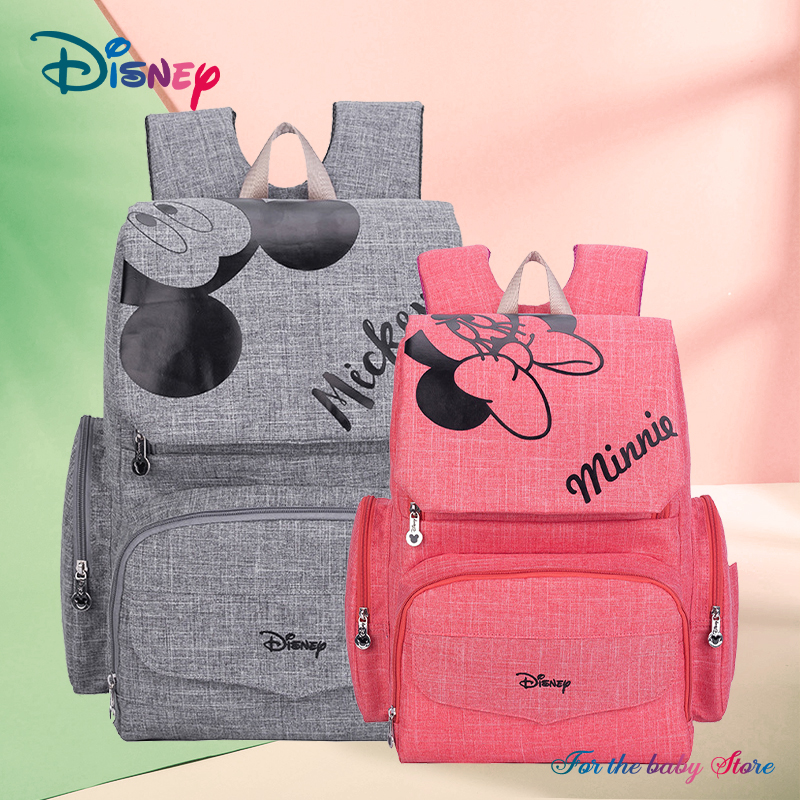 Disney 1Pair Free Hooks Mickey Baby Diaper Bags Bolso Maternal Stroller Bag Nappy Backpack Maternity Bag Maternal Backpack Mommy