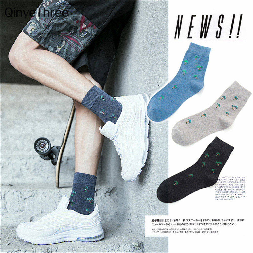 Harajuku Men Casual Crew Cartoon Coconut Tree Pattern Cotton Socks Novelty Hip-Hop Funny Socks British Style Business Tube Sox