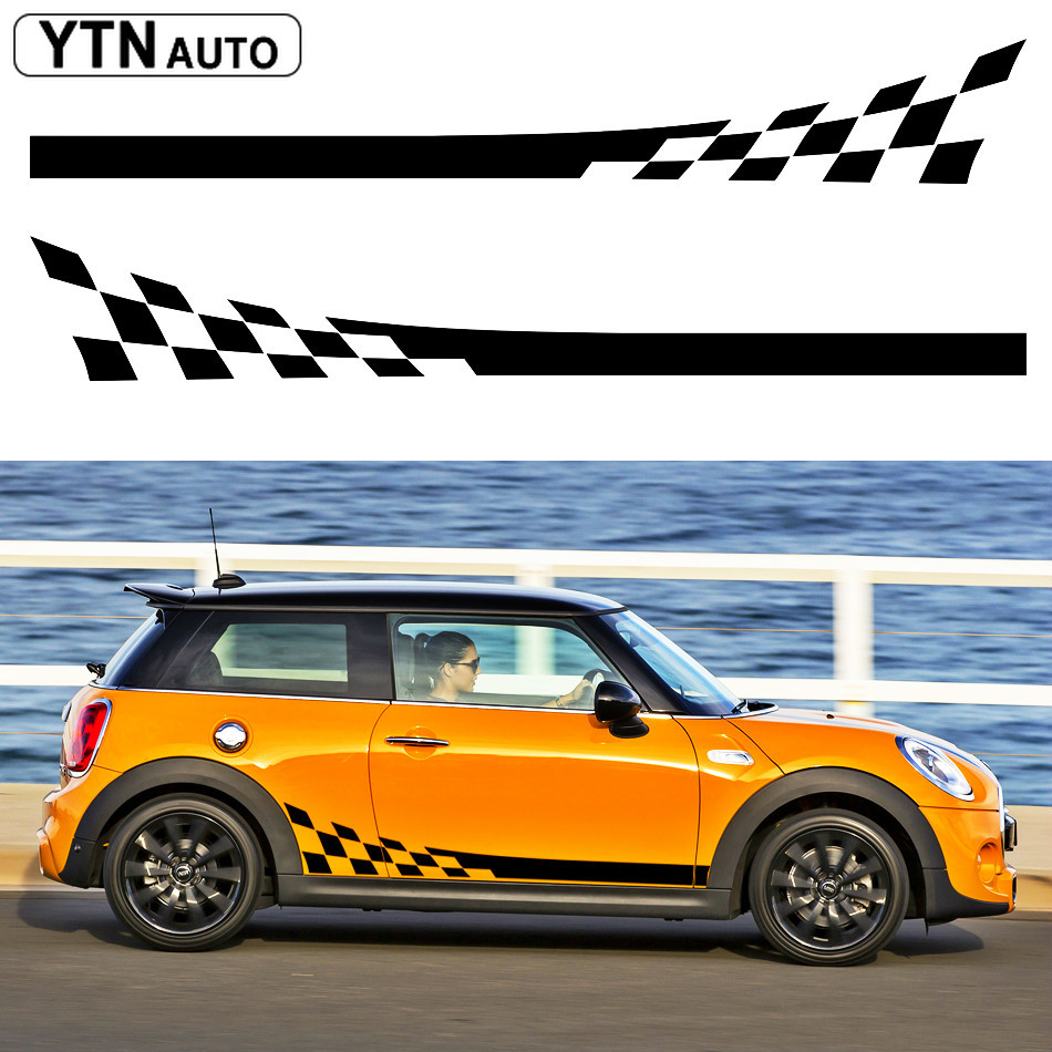 free shipping 2 PC racing flag side body stripes car sticker for MINI