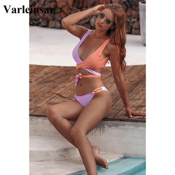 NEW 2020 Wrap Around Bikini Brazilian Swimsuit Female Swimwear Women Two-piece Bikini Set Bandage Bather Bathing Suit Swim V1857 3
