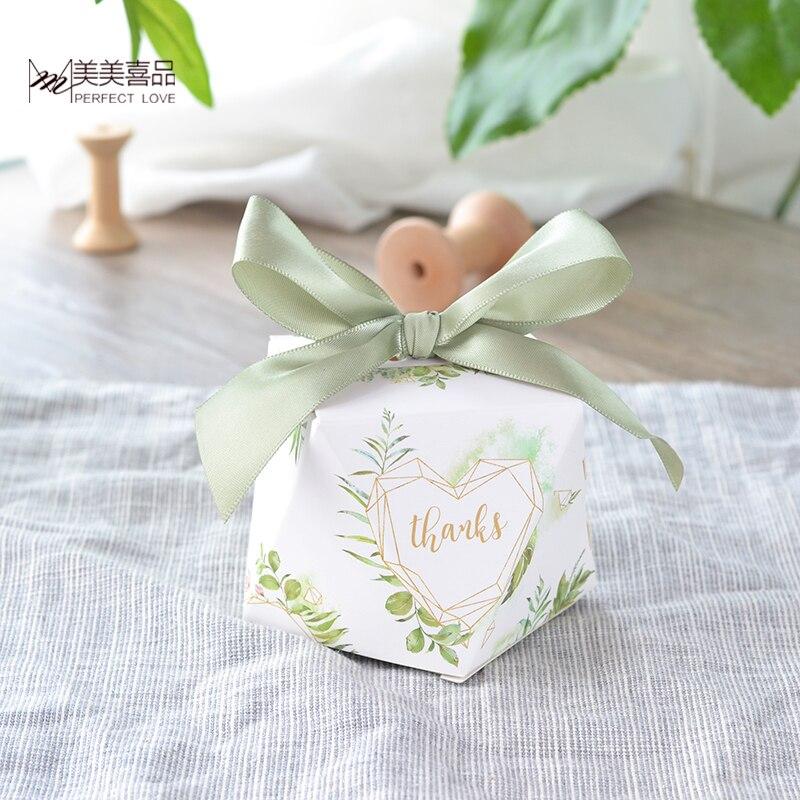 50pcs nouveau diamant forme feuilles vertes forêt style boîte à bonbons faveurs de mariage et cadeaux fournitures de fête merci boîte-cadeau