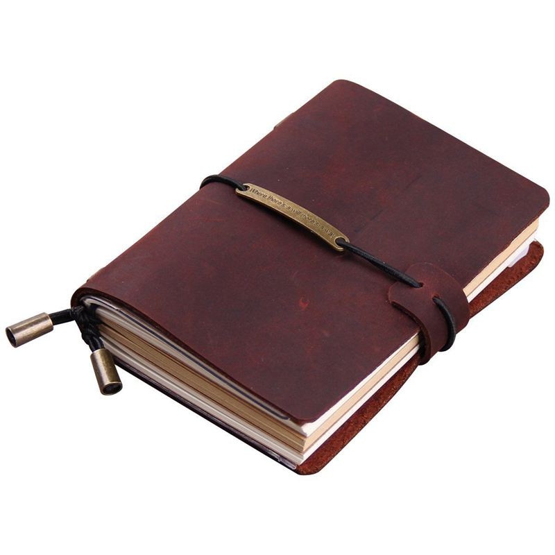 Handmade Traveler's Notebook, Leather Travel Journal Notebook for Men & Women, Perfect for Writing, Gifts, Travelers, 5.2 x 4 In