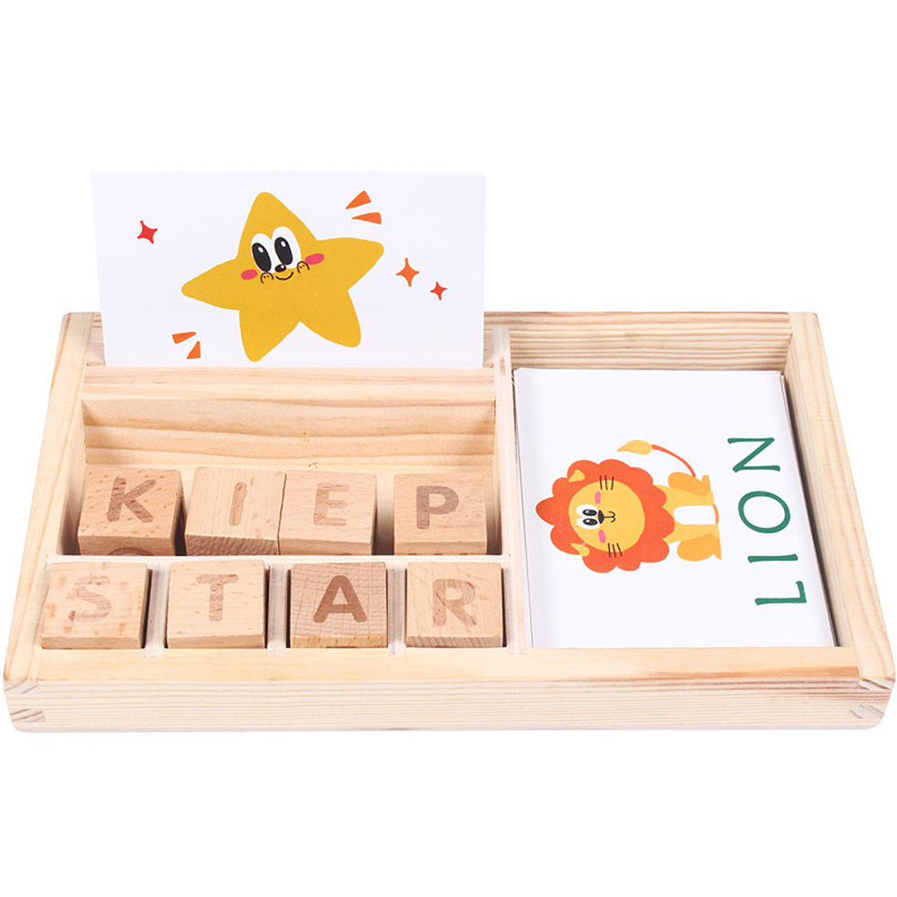Teaching aids spell word game wooden English <font><b>cardboard</b></font> <font><b>puzzle</b></font> enlightenment learning letters building <font><b>puzzle</b></font> image