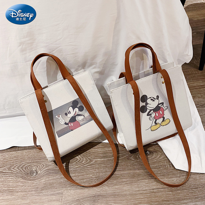Disney Shoulder Casual Crossbody Bag Cartoon Pattern Canvas Material Large Capacity Party Shoulder Bag Fashion Lady Tote Bags