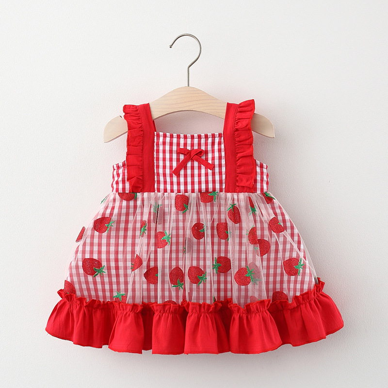 Baby Girl Dresses Summer Plaid Red Strawberry Ruffle Cute Mesh Princess Dress for Girls Toddler Kids Child Baby Girl Clothes