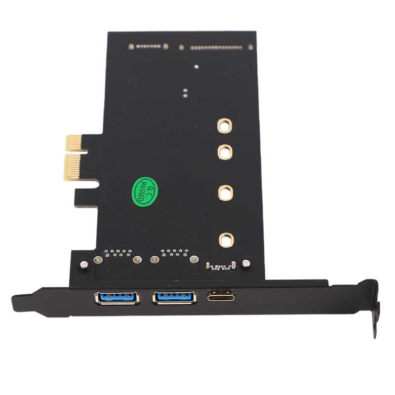 Dual USB3.0 & Tipe-C M.2 PCIe Adaptor M2 SSD SATA B Kunci untuk Pci-E Controller Converter Riser Kartu untuk 2280 2260 2242 2230 NGFF