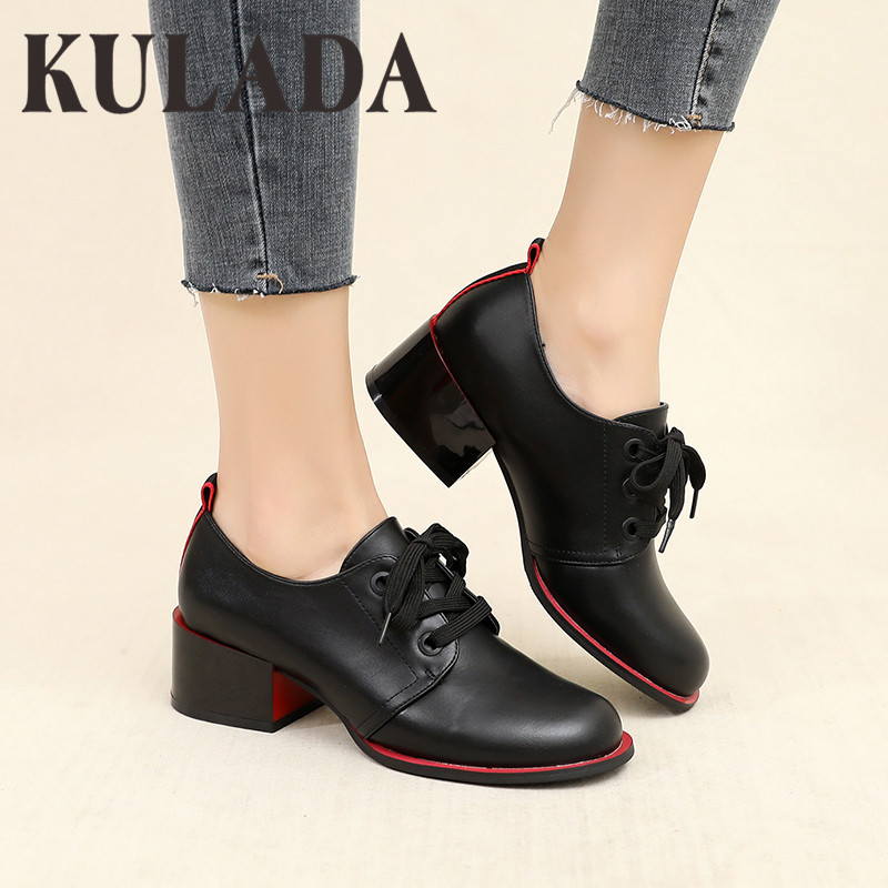 KULADA Women Pumps Shoes Female Lace-up Thick High Heel Shoes Patent Leather Wear All Seasons Fashion Ladies Square Heel Shoes