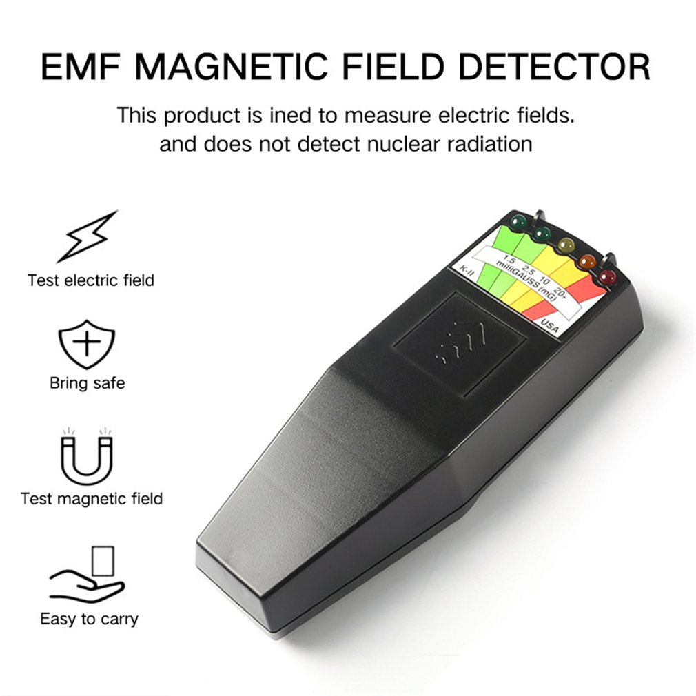 K2 Electromagnetic Field EMF Gauss Meter Ghost Hunting Detector Portable EMF Magnetic Field Detector 5 LED Gauss Meter
