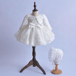Платье принцессы для новорожденных девочек от 0 до 18 месяцев белые топы + кепка со шнуровкой + фатиновые вечерние платья-пачки с цветочным пр...