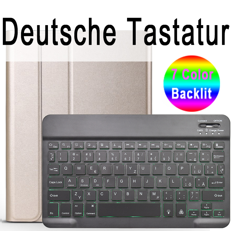 German Keyboard Pale Pink For iPad 10 2 2019 7 7th 8th Generation A2200 A2198 A2197 Case with Backlit Keyboard